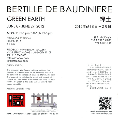 Exposition Green Earth galerie Resobox - NY